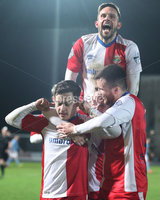 Danske Bank Premiership, Showgrounds, Ballymena. 14/2/2020. Ballymena United  vs Linfield FC. Linfield Jordan Stewart celebrates scoring against Ballymena United with team mates.. Mandatory Credit  INPHO/Brian Little