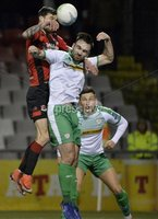 25/01/2020. Danske Bank Premiership, Seaview, Belfast Co. Antrim . Crusaders v Cliftonville . Crusaders Declan Caddell  in action with Cliftonvilles Jamie Harney. Mandatory Credit INPHO/Stephen Hamilton.