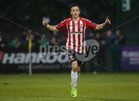 ©/Presseye.com - 19th May 2017.  Press Eye Ltd - Northern Ireland - Airtricity League Premier Division - Derry City V Shamrock Rovers. Derry\'s Aaron McEneff celebrates his second goal.. Mandatory Credit Photo Lorcan Doherty / Presseye.com