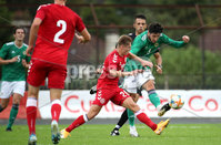 Press Eye - Belfast, Northern Ireland - 0th September 2020 - Photo by William Cherry/Presseye. Northern Ireland\'s Daniel Amos with Denmark\'s Magnus Kofod Andersen during Tuesday nights U21 Euro Qualifier at the Ballymena Showgrounds, Ballymena.      Photo by William Cherry/Presseye