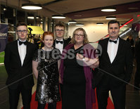 Press Eye - Belfast - Northern Ireland - 14th January 2019.. BELFAST TELEGRAPH SPORTS AWARDS 2018. Zach, Thomas, Sophie, Helen and Chris Earley pictured at the  Belfast Telegraph Sports Awards in the ICC Belfast.. Photo by Matt Mackey / Press Eye.