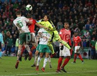 PressEye-Northern Ireland- 12th November  2017-Picture by Brian Little/ PressEye. Switzerland  goal keeper Yann Sommer   and Northern Ireland  Jonny Evans    during Sunday night\'s FIFA  World Cup play-off  second leg match at St Jacob Park, Basel.. Picture by Brian Little/PressEye