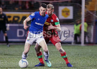 Danske Bank Premiership at Solitude, Belfast.  13.01.2020. Cliftonville FC vs Linfield FC. Cliftonvilles Liam Bagnall with Linfields Stephen Fallon. Mandatory Credit INPHO/Jonathan Porter