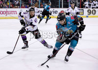 Press Eye - Belfast -  Northern Ireland - 03rd March 2019 - Photo by William Cherry/Presseye. Belfast Giants\' David Rutherford with Manchester Storm\'s Ciaran Long during Sunday afternoons Elite Ice Hockey League game at the SSE Arena, Belfast.