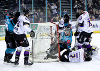 Press Eye - Belfast -  Northern Ireland - 03rd March 2019 - Photo by William Cherry/Presseye. Belfast Giants\' David Rutherford celebrates scoring against Manchester Storm during Sunday afternoons Elite Ice Hockey League game at the SSE Arena, Belfast.