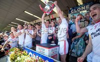 Ulster GAA Senior Football Championship Final, St Tiernach\'s Park, Clones, Co. Monaghan 16/7/2017. Down vs Tyrone. Tyrone\'s Colm and Sean Cavanagh raise the Anglo Celt Cup. Mandatory Credit ©INPHO/Morgan Treacy