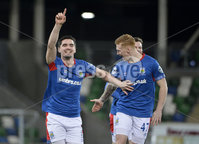 21/02/2020. Danske Bank Irish Premiership match between Linfield and Crusaders at The National Stadium.. Linfields  Jimmy Callacher celebrates after scoring . Mandatory Credit  Inpho/Stephen Hamilton
