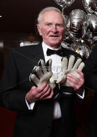 Press Eye - Belfast - Northern Ireland - 19th January 2009 -   Belfast Telegraph Sports Awards sponsored by Magners.. Former soccer stars Harry Gregg and Pat Jennings with the BBC\'s Alan Simpson.. Picture by Kelvin Boyes / Press Eye..