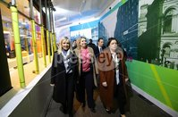 Press Eye - Belfast Northern Ireland - 6th December 2018 . The Secretary of State for Northern Ireland Karen Bradley MP is pictured with Belfast Lord Mayor Deirdre Hargey and Chief Executive Suzanne Wylie during a tour of the Christmas market and shops in Belfast city centre this evening.. Photo by Kelvin Boyes / Press Eye..