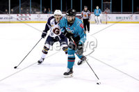 Press Eye - Belfast, Northern Ireland - 29th February 2020 - Photo by William Cherry/Presseye. Belfast Giants\' Lewis Hook with Guildford Flames\' Erik Lindhagen during Saturday nights Elite Ice Hockey League game at the SSE Arena, Belfast.    Photo by William Cherry/Presseye