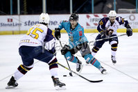 Press Eye - Belfast, Northern Ireland - 29th February 2020 - Photo by William Cherry/Presseye. Belfast Giants\' Ben Lake with Guildford Flames\' Steve Lee during Saturday nights Elite Ice Hockey League game at the SSE Arena, Belfast.    Photo by William Cherry/Presseye