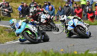 Mandatory Credit: Rowland White / PressEye. ULSTER GRAND PRIX. Venue: Dundrod. Date: 12th August 2017. Class: SUPERSPORT RACE. Caption: Dean Harrison, William Dunlop and Michael Dunlop