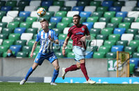 Press Eye-Belfast-Northern Ireland -27th July 2020. Sadlers\'s Peaky  Blinder Irish Cup Semi Final, National Stadium at Windsor Park, Belfast. . 27/7/2020. Ballymena United FC v Coleraine FC. Ballymena United\'s Steven McCullough  and   Lydon Kane of Coleraine.. Mandatory Credit  Brian Little/PressEye