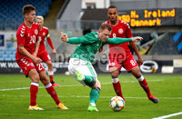 Press Eye - Belfast, Northern Ireland - 0th September 2020 - Photo by William Cherry/Presseye. Northern Ireland\'s Shayne Lavery with Denmark\'s Magnus Kofod Andersen and Nikolas Nartey during Tuesday nights U21 Euro Qualifier at the Ballymena Showgrounds, Ballymena.      Photo by William Cherry/Presseye