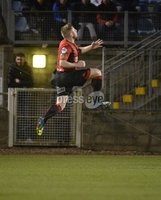Danske Bank Premiership, The Showgrounds Newry 11/01/2019. Newry vs Crusaders. Crusaders David Cushley celebrates after he fires his side into a 1-0 lead. Mandatory Credit INPHO/Stephen Hamilton.