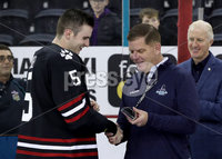 Press Eye - Belfast, Northern Ireland - 30th November 2019 - Photo by William Cherry/Presseye. Lord Mayor of Boston Marty Walsh, presents Northeastern Huskies\' Ryan Shea with Player of the Tournament after Saturday evenings Friendship Four Championship game against Colgate Raiders at the SSE Arena, Belfast.      Photo by William Cherry/Presseye