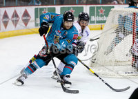 Press Eye - Belfast -  Northern Ireland -16th November 2019 - Photo by Darren Kidd/Presseye . Belfast Giants\' Liam Reddox with Dundee Stars\' Drydn Dow  during Saturday nights Elite Ice Hockey League game at the SSE Arena, Belfast.    Photo by Darren Kid/Presseye