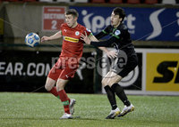 9thFebruary 2021. Danske Bank Irish league,Solitude,Belfast. Cliftonville v Warrenpoint Town .. Cliftonvilles Paul ONeill  in action with Warrenpoints Danny Wallace. Mandatory Credit   Inpho/Stephen Hamilton