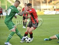Wednesday 11th July 2018. UEFA Champions League First Qualifying Round First Leg between PFC Ludogorets Razgrad and Crusaders FC .. Ludogorets Gustavo Campanharo  in action with Crusaders Michael Carville . Mandatory Credit: Inpho/Stephen Hamilton