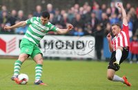 ©/Presseye.com - 19th May 2017.  Press Eye Ltd - Northern Ireland - Airtricity League Premier Division - Derry City V Shamrock Rovers. Shamrock Rovers\'s David Mc and Derry\'s Lukas Schubert.. Mandatory Credit Photo Lorcan Doherty / Presseye.com