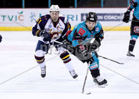 Press Eye - Belfast -  Northern Ireland - 03rd February 2019 - Photo by William Cherry/Presseye. Belfast Giants\' David Rutherford with Guildford Flames\' Kruise Reddick during Friday nights Elite Ice Hockey League game at the SSE Arena, Belfast.   Photo by William Cherry/Presseye