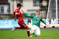 Press Eye - Belfast, Northern Ireland - 0th September 2020 - Photo by William Cherry/Presseye. Northern Ireland\'s Shayne Lavery with Denmark\'s Carlo Holse during Tuesday nights U21 Euro Qualifier at the Ballymena Showgrounds, Ballymena.      Photo by William Cherry/Presseye