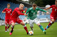 Press Eye - Belfast, Northern Ireland - 0th September 2020 - Photo by William Cherry/Presseye. Northern Ireland\'s Shayne Lavery with Denmark\'s Vistor Nelsson during Tuesday nights U21 Euro Qualifier at the Ballymena Showgrounds, Ballymena.      Photo by William Cherry/Presseye