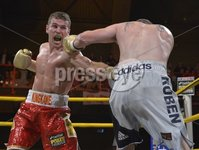 Press Eye - Belfast - Northern Ireland - 4th May 2012. Betfair Prizefighter Irish Middleweights Competition at The Kings Hall, Belfast. 1st Quarter Final between Eamonn O\'Kane and Anthony Fitzgerald. ©Russell Pritchard / Presseye