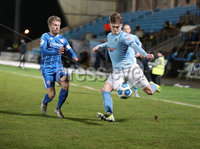 Danske Bank Premiership, Showgrounds, Ballymena.. 16/2/2021. Ballymena United  FC vs Coleraine FC . Ballymena United Ben Wylie  and Coleraine  Lydon Kane  during Tuesday night\'s Danske Bank Premiership match at Ballymena Showgrounds.. Mandatory Credit  INPHO/Brian Little