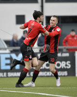 07/12/2019. Danske Bank Premiership, Seaview, Belfast Co. Antrim . Crusaders v Institute. Crusaders Philip Lowry celebrates after scoring . Mandatory Credit INPHO/Stephen Hamilton.