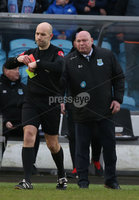 Danske Bank Premiership, Showgrounds, Ballymena . 7/3/2020. Ballymena United FC v Coleraine FC. Ballymena United\'s manager David Jeffrey shown the red card by Referee Steven Gregg.. Mandatory Credit  INPHO/Brian Little
