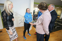 Philip Magowan Photography - Northern Ireland - 19th May 2017. Pictured: Carla Lockhart MLA, David Simpson MP and DUP leader Arlene Foster with Jemma Jackson of Fit Banbridge.. Picture: Philip Magowan