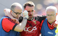 Ulster GAA Senior Football Championship Final, St Tiernach\'s Park, Clones, Co. Monaghan 16/7/2017. Down vs Tyrone. Down\'s Mark Poland leaves the pitch with an injury. Mandatory Credit ©INPHO/Morgan Treacy