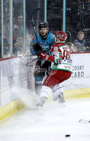 Press Eye - Belfast, Northern Ireland - 01st February 2020 - Photo by William Cherry/Presseye. Belfast Giants\' Liam Morgan with Cardiff Devils\' Joey Martin during Sunday afternoons Elite Ice Hockey League game at the SSE Arena, Belfast.   Photo by William Cherry/Presseye