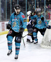 Press Eye - Belfast, Northern Ireland - 29th February 2020 - Photo by William Cherry/Presseye. Belfast Giants\' Jordan Smotherman celebrates scoring against the Guildford Flames during Saturday nights Elite Ice Hockey League game at the SSE Arena, Belfast.    Photo by William Cherry/Presseye