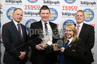 Press Eye - Belfast - Northern Ireland . 2012 Belfast Telegraph Making The Difference Awards  supported by TESCO.. Best School category presented by Trevor Ringland MBE to Leanne Fisher,Matthew Delargy and Principal Liam Perry from the winner  St Columbanus College.  Mandatory credit: Picture by Brian Thompson/ Presseye.com. . .