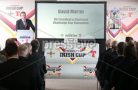 Press Eye Northern Ireland . Thursday 6th December 2018. Picture by Jonathan Porter  / Press Eye . . 5th Round Draw of the Tennent\'s Irish Cup that took place today in Pat Jennings Lounge, National Football Stadium at Windsor Park.. Pictured David Martin IFA President and Chairman Challenge Cup Committee.