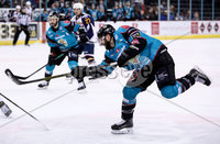 Press Eye - Belfast -  Northern Ireland - 03rd February 2019 - Photo by William Cherry/Presseye. Belfast Giants\' Blair Riley with Guildford Flames during Friday nights Elite Ice Hockey League game at the SSE Arena, Belfast.   Photo by William Cherry/Presseye