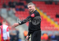Danske Bank Premiership, Ryan McBride Brandywell Stadium, Derry, Northern Ireland 16/11/2019. Institute vs Linfield. Match referee Raymond Crangle awards the third penalty of the game. Mandatory Credit INPHO/Lorcan Doherty