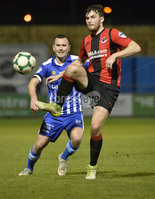 Danske Bank Premiership, The Showgrounds Newry 11/01/2019. Newry vs Crusaders . Newrys Mark Hughes  with Crusaders Philip Lowry. Mandatory Credit INPHO/Stephen Hamilton.