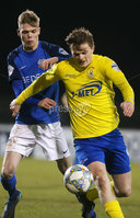 Tennants Irish Cup at Mourneview in Lurgan.  11.02.2019. Glenavon v Dungannon. Glenavon\'s Rhys Marshall with Dungannon\'s Paul McElroy. Mandatory CreditINPHO/PressEye.com/Jonathan Porter.