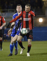 Danske Bank Premiership, The Showgrounds Newry 11/01/2019. Newry vs Crusaders. Newrys Stephen Teggart with Crusaders Rory Hale. Mandatory Credit INPHO/Stephen Hamilton.