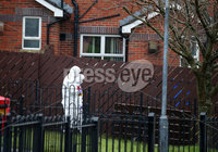 Press Eye - Belfast - Northern Ireland - 8th February 2018. Forensic experts pictured at the scene on Creeslough Court in the Lenadoon area of west Belfast where a small explosion took place on Wednesday evening. . Picture by Jonathan Porter/PressEye