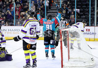 Press Eye - Belfast -  Northern Ireland - 11th February 2018 - Photo by William Cherry/Presseye. Belfast Giants David Rutherford celebrates scoring against Manchester Storm during Sunday afternoons Elite Ice Hockey League game at the SSE Arena, Belfast.