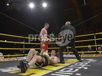 Press Eye - Belfast - Northern Ireland - Saturday 5th May 2012 -  . PRIZE FIGHTER NIGHT AT KINGS HALL BELFAST. Eamonn O'Kane  v Ryan Greene. EAMONN O\'KANE WINS.