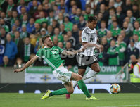 Press Eye - Belfast - Northern Ireland - 9th September 2019 - Picture Matt Mackey / Press Eye.. EURO qualifier 2020 Stadium at Windsor Park, Belfast. Northern Ireland Vs Germany.. Northern Ireland\'s Stuart Dallas with Germany\'s Serge Gnabry.