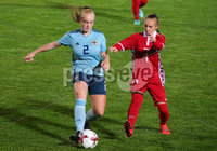 Press Eye - Belfast - Northern Ireland - 5th October 2019. European Women\'s U19 Championship 2020 Qualifying Round - Ballymena Showgrounds.  Northern Ireland Vs Moldova.. Northern Ireland\'s Beth Chalmers with Moldova\'s Carina Doiban.. Picture by Jonathan Porter/PressEye