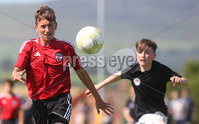 ©/Presseye.com - 17th July 2017.  Press Eye Ltd - Northern Ireland - Hughes Insurance Foyle Cup U-13 2017- GPS FC Bayern (USA) V Bertie Peacock Youth League.. Luke Alexander (GPS FC Bayern) and Karl Hutchinson (B Peacock YL).  . Mandatory Credit Photo Lorcan Doherty / Presseye.com