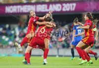 Press Eye Belfast - Northern Ireland 8th August 2017. 2017 UEFA Women\'s Under-19 Championship Final at the National Stadium at Windsor Park, Belfast.  France Vs Spain. Spain celebrate after they score to make it 2-2. . Picture by Jonathan Porter/PressEye.com.