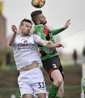 29/02/20. Sadlers Peaky Blinders Irish Cup Quarter final between Glentoran  and Crusaders at the Oval Belfast. Glentorans Rory Donnelly  in action with Crusaders  Cameron Dummigan. Mandatory Credit - Inpho/Stephen Hamilton.